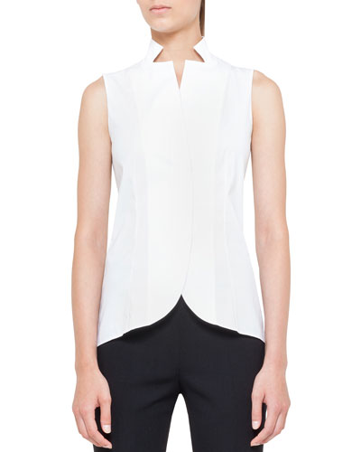 Notched Stand-Collar Sleeveless Button-Front Blouse