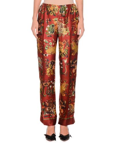 Animal-Print Needlepoint Silk Satin Pajama Pants