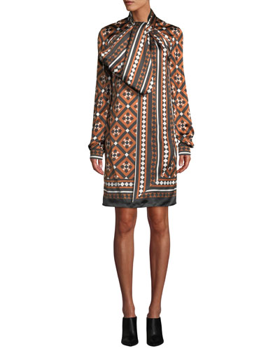 Lyonel Long-Sleeve Tile-Print Cocktail Dress w/ Large Bow Detail