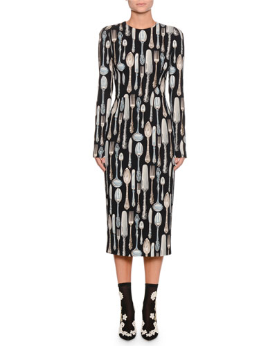 Long-Sleeve Silverware-Print Sheath Midi Dress