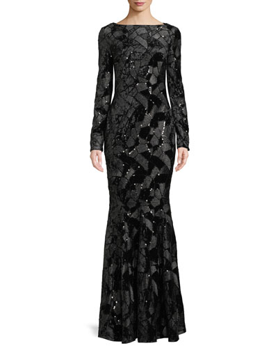 Long Sleeve Stretch Gown Bergdorfgoodman