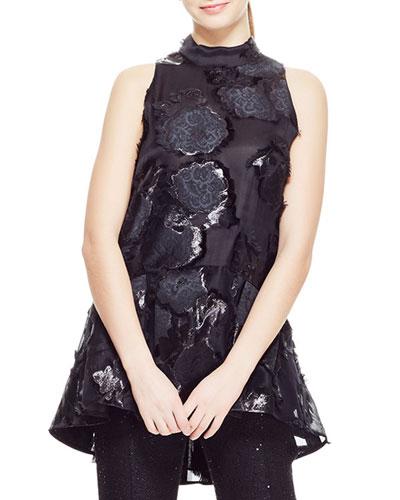 High-Neck Sleeveless Floral-Embroidered Peplum Top