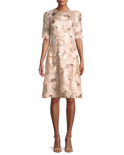 Holly Floral-Embroidered 1/2-Sleeve A-Line Cocktail Dress