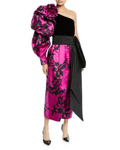 Shadow Flower Satin One-Shoulder Velvet-Bodice Gown
