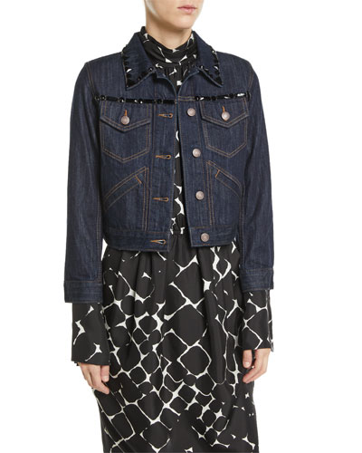 Beaded Button-Front Shrunken Denim Jacket w/ Contrast Topstitching