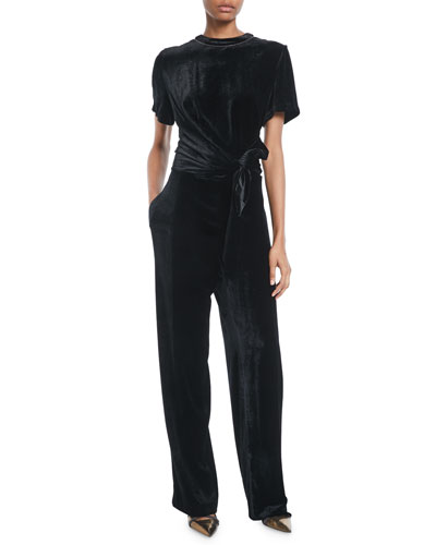 159942d93f68 Crewneck Short-Sleeve Liquid-Velvet Straight-Leg Jumpsuit