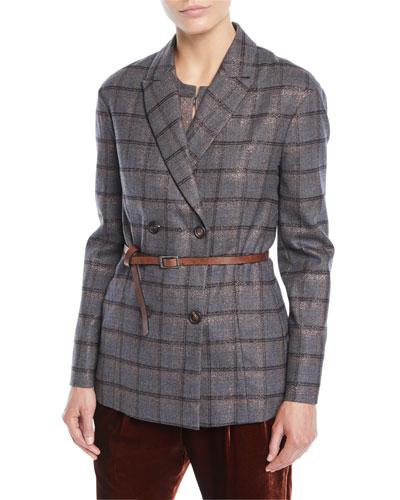 Double-Breasted Metallic Plaid Blazer w/ Leather Belt