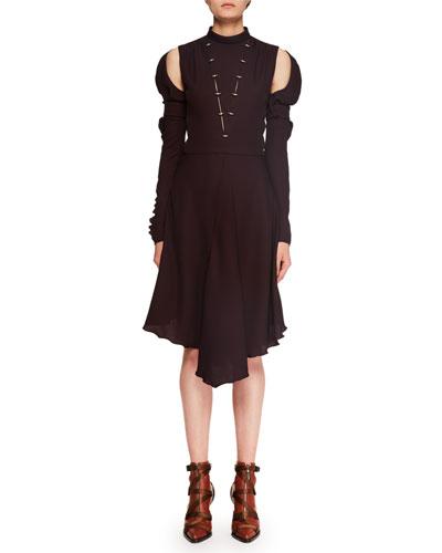 Mock-Neck Cutout-Shoulder Silk Crepe Dress