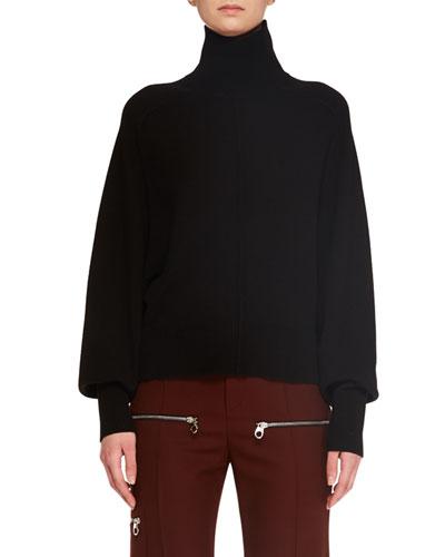 Turtleneck Long-Sleeve Merino Wool-Blend Sweater