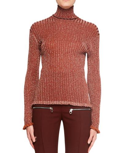 Metallic Silk Turtleneck Sweater