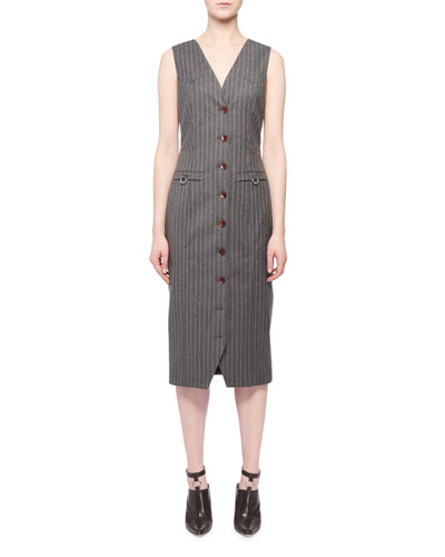 Wool-Blend Dress w/ Pinstripes