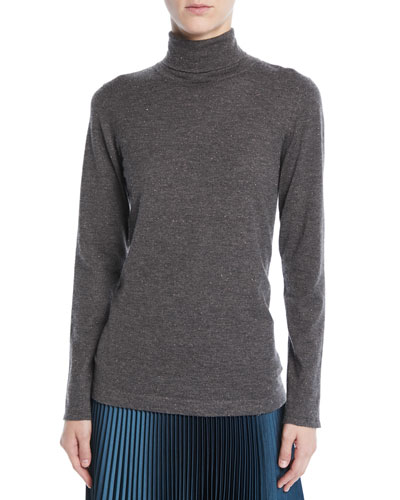 Speckled Metallic Cashmere Turtleneck Sweater