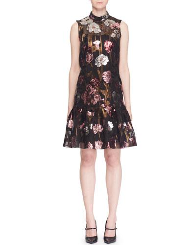 Mock-Neck Sleeveless A-Line Metallic-Floral Dress