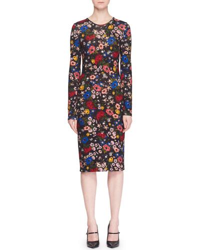 Eileen Crewneck Long-Sleeve Floral-Print Jersey Sheath Dress