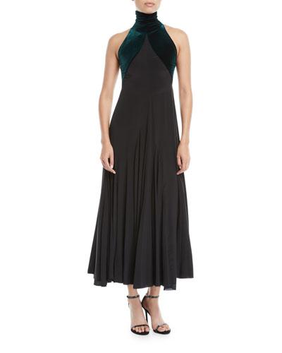 Velvet High-Neck Sleeveless A-Line Cocktail Dress
