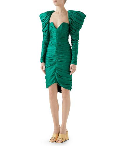 Long-Sleeve Gathered Hammered Matte Satin Cocktail Dress