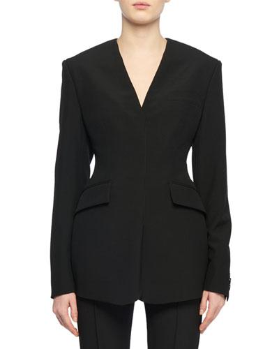 Long-Sleeve V-Neck Structured Wool Blazer Top