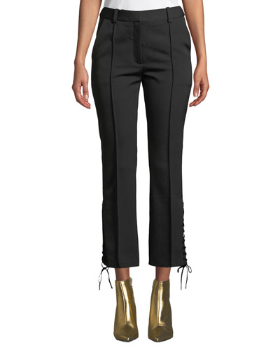 Lace-Up Side Wool Ankle Pants