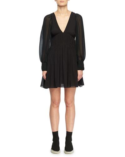 Deep V-Neck Long-Sleeve Fitted-Waist Silk Dress
