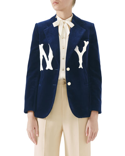 Two-Button Soft Cotton Velvet Jacket w/ NY Yankees MLB Patch