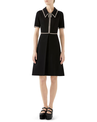 Crystal-Trim Short-Sleeve Fit-and-Flare Stretch-Jersey Dress