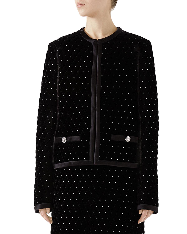Studded Quilted Velvet Jacket