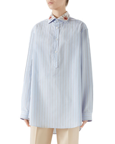 Embroidered Collar Button-Placket Long-Sleeve Striped Cotton Shirt