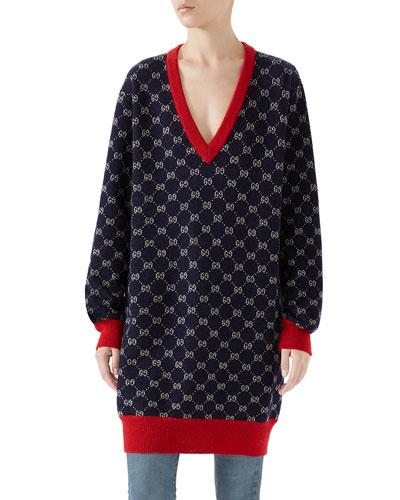 b83a47ae10f V-Neck Long-Sleeve GG-Jacquard Wool-Alpaca Sweater Top