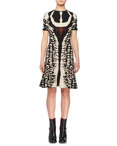 Crewneck Short-Sleeve Abstract Bug-Jacquard Flared Knit Dress