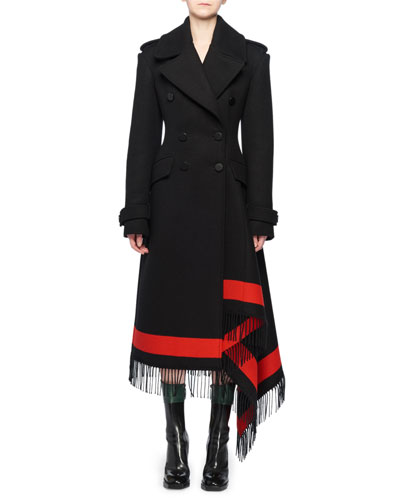 Double-Breasted Wool-Cashmere Coat w/ Striped Fringe Trim