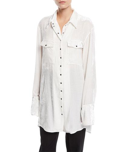Long-Sleeve Snap-Front Patch-Pockets Oversized Velvet Shirt