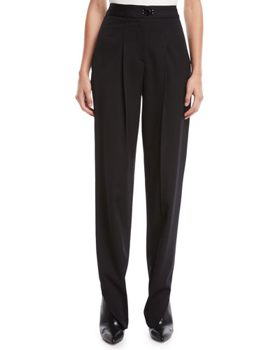 High-Waist Tailored Tapered-Leg Pants w/ Slit Hem