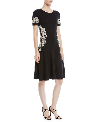 Jewel-Neck Short-Sleeve Wool Knit Cocktail Dress w/ Lace Embroidery