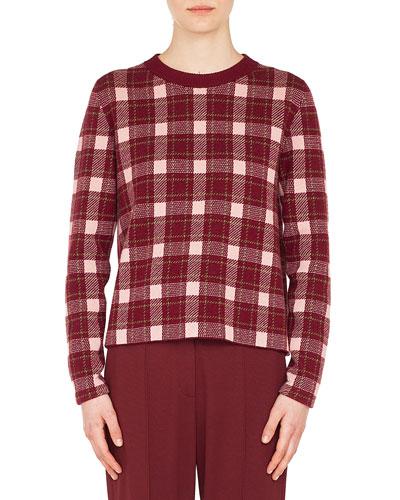 1c4dcc3a5b Crewneck Long-Sleeve Check Cashmere-Blend Sweater