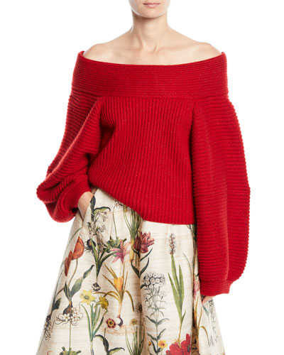 Off-the-Shoulder Balloon-Sleeve Wool Knit Sweater