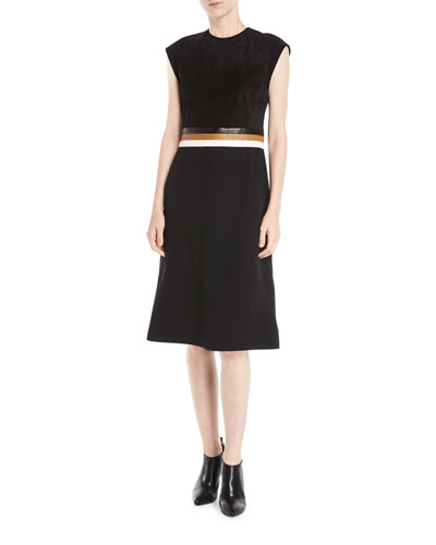 Sleeveless A-Line Stretch Cady Dress w/ Leather Belt Insert
