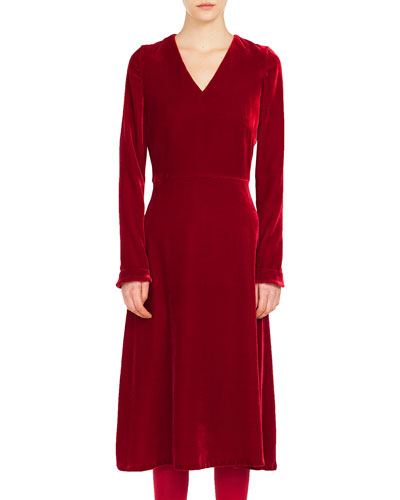 V-Neck Long-Sleeve A-Line Velvet Midi Dress