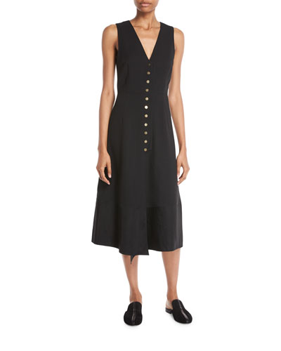Pebble Crepe V-Neck Sleeveless Midi Dress