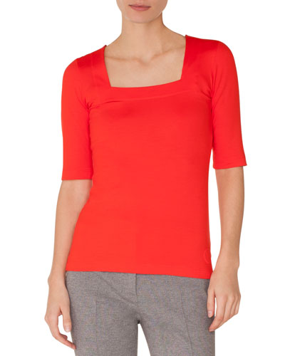 Square-Neck Elbow-Sleeve Jersey Top