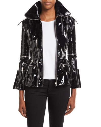 Zip-Front Patent Leather Jacket w/ Floral-Print Lining