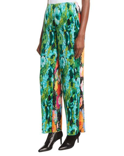 High-Rise Multicolor Floral-Print Plisse Wide-Leg Pants