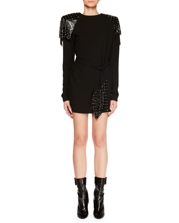 Saint Laurent Dresses STUDDED CHAIN MAIL STRONG-SHOULDER LONG-SLEEVE JERSEY DRESS