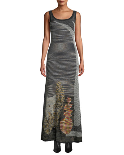 Scoop-Neck Sleeveless Animal-Intarsia Semisheer Mohair-Alpaca Long Dress