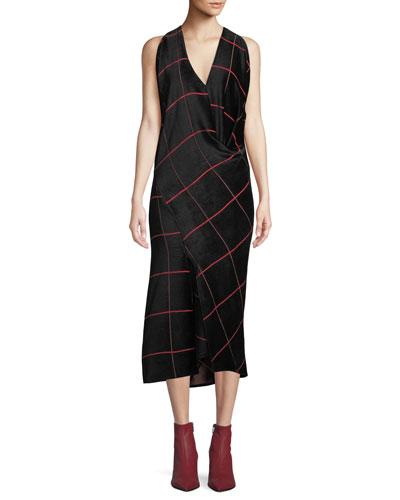 Sarah Bias-Cut Grid Midi Dress