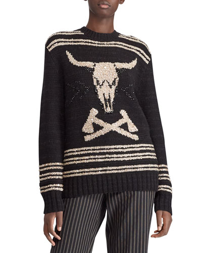 50th Anniversary Steer Head Embroidered Crewneck Cashmere-Linen Sweater
