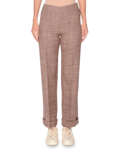 Side-Zip Flare-Leg Wool Pant