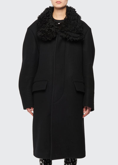 9452fd1ddd Curly Shearling Collar Felt Wool Coat