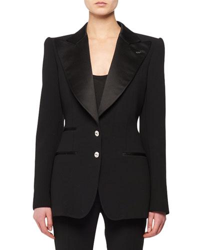 Satin Peak-Lapel Two-Button Wool Tuxedo Jacket w/ Crystal Buttons
