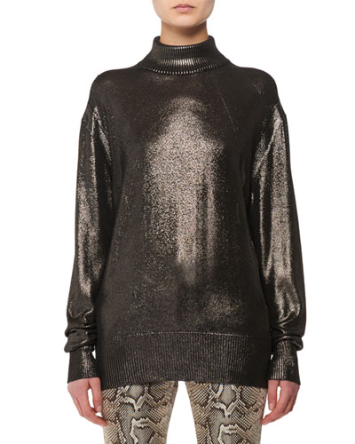 Long-Sleeve Metallic-Knit Silk Turtleneck Sweater