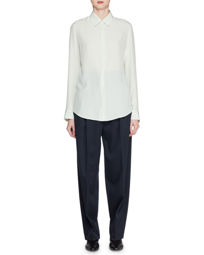 Petah Button-Front Long-Sleeve Silk Shirt